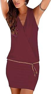f859aa8e82b Minetom Vestido Atractivo de Sin Mangas de Cuello de Verano V de las Mujeres  Bodycon Mini