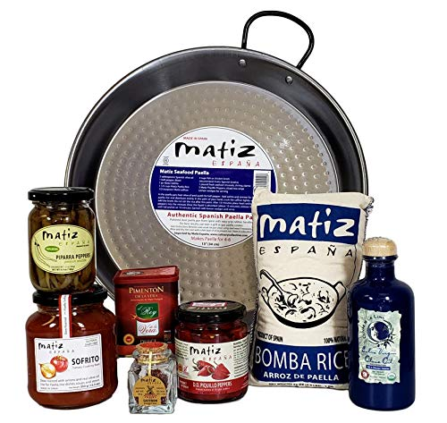 in budget affordable Matiz España Deluxe Authentic paella with traditional bread and ingredients