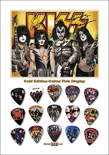 We Love Guitars KISS A Gold Edition Gitarre Plektrum Unframed Ungerahmt Display Gitarren-Picks