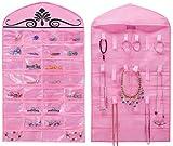 MISSLO Organiseur de bijoux à suspendre pour collier, boucles d'oreilles, accessoires de rangement pour penderie, 32 poches, 18 crochets et boucles Rose
