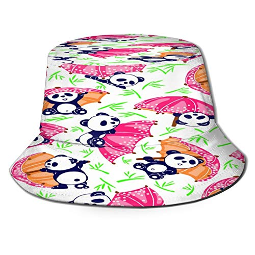 Panda Bear Hold Umbrella Bamboo Bucket Hat Uv Protect Fisherman Hats Lightweight Breathable Boonie Cap Wide Brim Packable Sun Caps For Women Men Outdoor Fishing Beach Hiking Travel