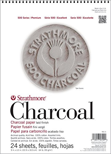 "Strathmore (561-1 STR-561-1 24 Sheet Assorted Tint Charcoal Pad, 9 by 12"", 9""x12"""