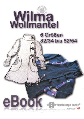 Wilma Wollmantel Nähanleitung mit Schnittmuster für Mantel Jacke Kurzmantel mit großem Kragen in 6 Größen Gr. 32/34-52/54 auf CD