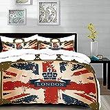 ropa de cama - Juego de funda nórdica, Union Jack, Maleta de viaje vintage con bandera británica, imagen de la cinta y corona de Londres, azul oscuro Re, Juego de funda nórdica de microfibra con 2 fun