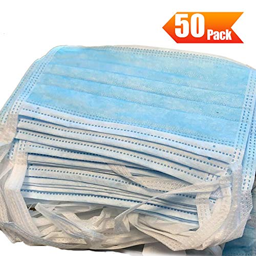 Fesjoy Mascarilla desechable, 50PCS Mascarillas protectoras de 3 capas Mascarilla transpirable antipolvo