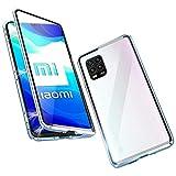 Funda para Xiaomi Mi 10 Lite 5G Magnetica Adsorption Carcasa 360 Grados Frente y Parte Posterior Cuerpo Completo Transparente Vidrio Templado Protección Metal Choque Cover Case - Azul Cristal