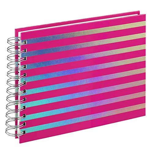 Hama Fotoalbum 24x17 cm (Spiralalbum mit 50 weißen Seiten (25 Blatt), Fotobuch für 50 Fotos im Format 10x15 cm, Album zum Selbstgestalten und Einkleben) pink