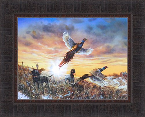 Opening Day by Jim Hansel 17x21 Pheasants Hunting Dogs Framed Art Print Wall Décor Picture