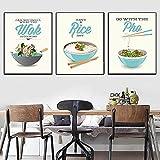 Cartel de restaurante de estilo chino e impresión de fideos de arroz Wok comida deliciosa lienzo pintura moderna imagen de...