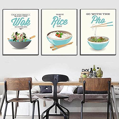 MYBHGRFDG Cartel de Restaurante de Estilo Chino e impresión Fideos de arroz Wok Comida Deliciosa Pintura de Lienzo Imagen de Pared Moderna Cocina Decoración del hogar   40x60cmx3 Sin Marco