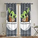 LIUCHIHYUU Baby Yoda - Cortinas fáciles de instalar (2 paneles, 52 x 213,4 cm)