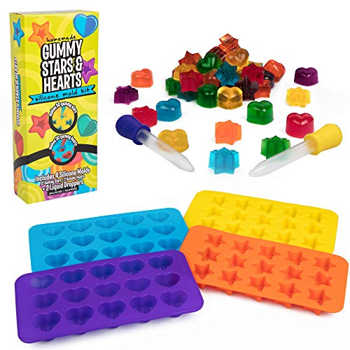 Star & Heart Silicone Gummy Candy Molds, 4 Pack Set - XL Nonstick Trays with 2 Droppers for Chocolate, Ice Cubes and More - Makes 140 Candies - FDA-Approved, BPA-Free