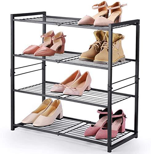 HOUSE DAY Organizador de Zapatos Plegable Zapatero de pie Zapatero de 4 Niveles Zapatero de Metal Gris Claro Estante de Zapatos de 63 cm de Ancho Estante de Almacenamiento