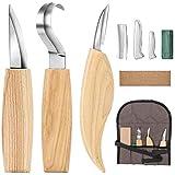 Ensemble d'outils de sculpture sur bois - Comprend un couteau à tailler, un couteau à crochet, un couteau de détail, un strop en cuir et un composé de polissage pour cuillère à bois Kuksa