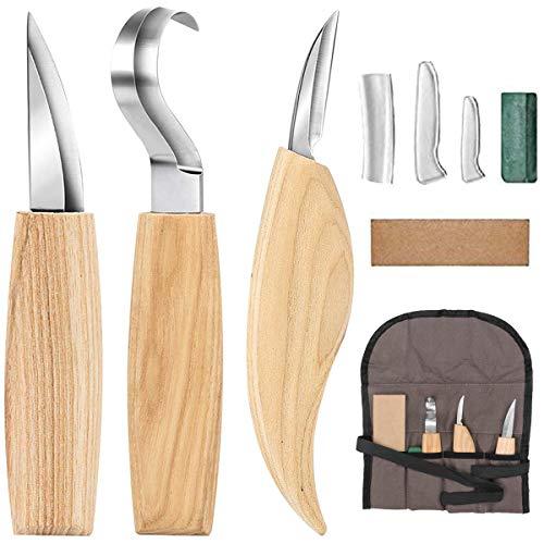 Set di utensili per intaglio del legno - Include coltello da taglio, coltello a uncino, coltello per dettagli, coramella in pelle e composto lucidante per cucchiaio Kuksa per la lavorazione del legno