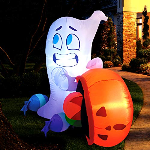 Joiedomi 5 FT Tall Halloween Inflatable Cute Ghost Inflatable Dump Blow Up Pumpkin Candy Bag with Build-in LEDs Inflatables for Halloween Party Indoor, Outdoor, Yard, Garden, Lawn Decorations