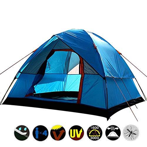 Outdoor anti-storm camping tent 4 personen double-layer super waterdichte rubberen camping rekening Camping Festival Family Tent, for het strand, de tuin, kamperen, vissen, Picnic, 130 * 200 * 200 dmq