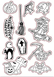 Happy Halloween Style Witch Pumpkin Rubber Clear Stamp for Card Making Decoration and Scrapbooking
