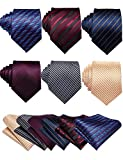 Barry.Wang Mens Stripe Plaid Tie Set with Pocket Square Cufflink Tie Clip Necktie Business Wedding 6PC