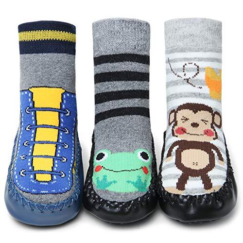 Adorel Calcetines Zapatos Antideslizantes para Bebé 3 Pares Zapatillas & Rana & Mono 18-19 (Tamaño del Fabricante 12)