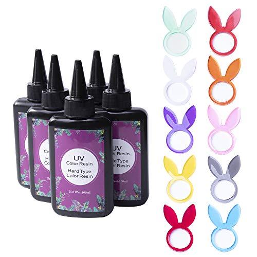 Resina Epoxi UV de Color para Hacer Manualidades de Joyería Joyas, No Necesita Pigmento Colorante, No Necesita Mezclar, Set de 10 Colores, 100ml