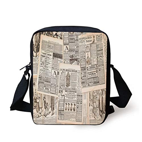 Retro Kids Crossbody Messenger Bag Purse,Vintage French Newspaper Background Nostalgic Antique Dated Past Design,Cross Body Bags boys Girls 3D Printed Shoulder Bag,Cream Tan Taupe