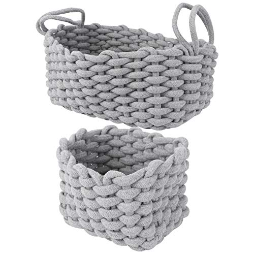 Cabilock 2Pcs Hand-woven Basket Snacks Basket with Handle Hemp Rope Basket Nursery Hamper Container Box For Kids Room Home Decor (Grey)