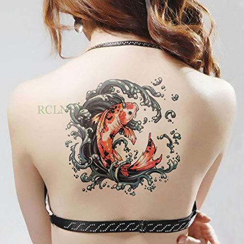 tzxdbh Adesivo Tatuaggio temporaneo Impermeabile sul Corpo Grande Braccio 20 * 22cm Rosso Adesivi Koi Carpa Tatto Tatoo per