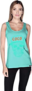 Creo Cyan Orange Coco Skull Tank Top For Women - S