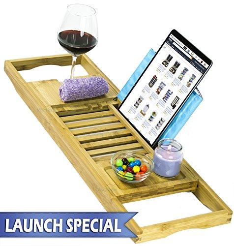 [Luxury] Bamboo Bathtub Caddy Tray with Expanding Sides, Premium Bath Tray, Tablet Holder, Wine Glass Holder, Eco Friendly Spay Tray for Bathtub Tray with Wine Holder for Bathtub