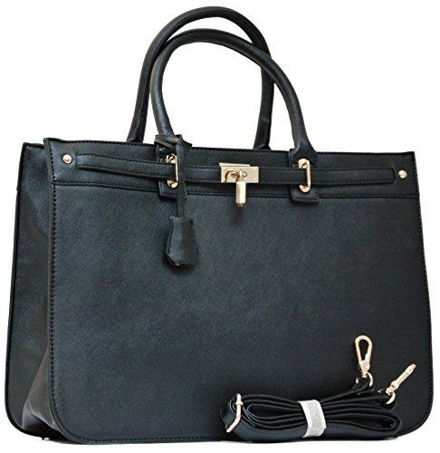 Max Mon© Shopper Handtasche mit Schulterriemen (Schwarz)