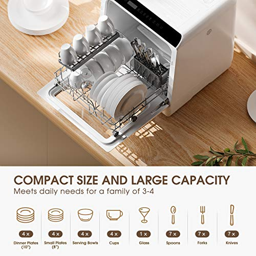 Product Image 3: Portable Countertop Dishwasher, NOVETE Compact Dishwashers with 5 L Built-in Water Tank & Inlet Hose, 5 Washing Programs, Baby Care, Air-Dry Function and LED Light for Small Apartments, Dorms and RVs