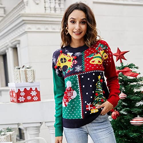 Jersey Mujer,Suéter De Punto Para Mujer Pullover De Manga Larga Color Cuello Redondo Costura De Celosía Árbol De Navidad Calcetines De Campana Jacquard Lindo Otoño Invierno Suave Y Cálido Suét