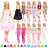 Miunana 15 items = 5 Sets Handmade Daily Fashion Causal Clothes Outfits Bundle with 10 shoes for Barbie Doll Random Stlye