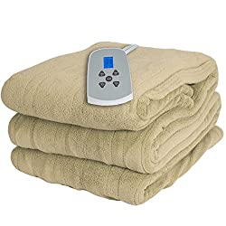 Westerly Twin Size Microplush Electric Heated Blanket with Digital Controller, Beige