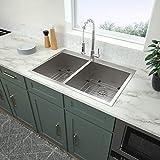 33 Kitchen Sink Drop In - Logmey 33x22 Drop In Topmount Double Bowl 40/60 Stainless Steel 18 Gauge Kitchen Sink