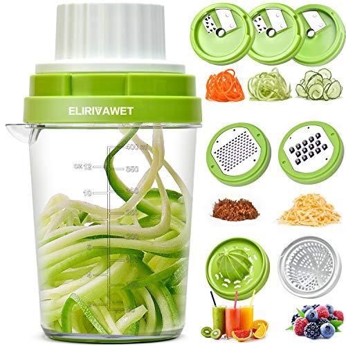 ELIRIVAWET Spiralschneider Hand für Gemüsespaghetti, Neueres Modell 8 in 1 Gemüse Spiralschneider mit Behälter, Gemüsehobel, Entsafter, Reibe & Zester