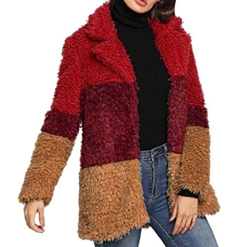 LUCKYCAT Chaqueta de Invierno Mujer,Abrigo de Cremallera de Felpa Jersey de Solapa Suéter de Terciopelo de Cordero Abrigo de Lana (Multicolor, Medio)