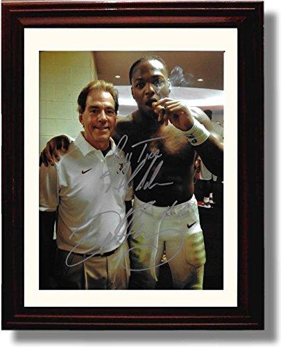 Framed Alabama Derrick Henry & Nick Saban Cigar Celebration Autograph Replica Print