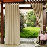 PONY DANCE Outdoor Curtain Drapes - Patio Drapes Water-Proof Fabric Window Curtain for Patio/Balcony/Front Porch, 52 W x 95 L, Biscotti Beige, 1 Panel