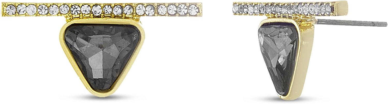 Steve Madden Black Rhinestone Triangle Bar Stud Earrings for Women