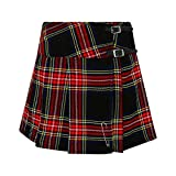 Tartanista - Kilt/Minifalda Escocesa con Correas y alfiler - 41,9 cm - Black Stewart - EU40 UK12