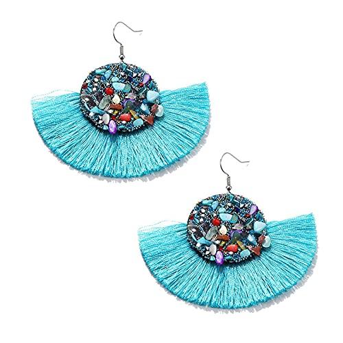 Pendientes de aro para mujer con forma de abanico y borla de aleación de color piedra