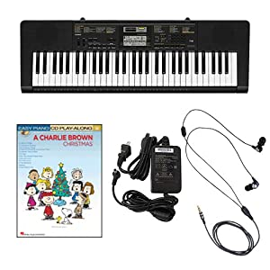 Casio CTK2400 61-Key Keyboard Deluxe Package with Casio Keyboard Adapter  Ear Buds & A Charlie Brown Christmas Easy Piano Play Along Book