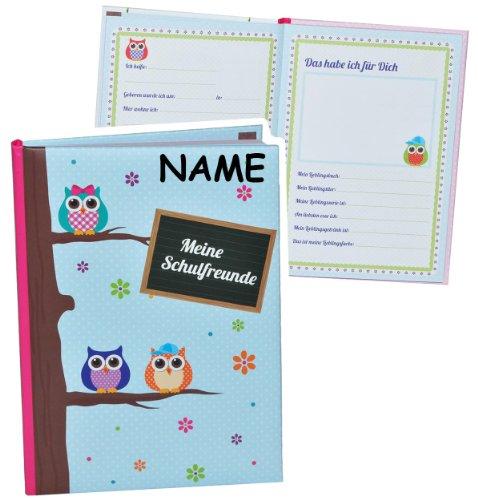 Meine Freunde Buch -  lustige Eulen  - für Mädchen & Jungen - mit Namen - dick gebunden für Schulfreunde Poesie A5 Hardcover - Freundebuch Poesiealbum Kinde..