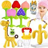Baby Teething Toys- Teething Toys for Babies 0-6 Months& 6-12 Months, Baby Teether Chew Toys/Infant/ Baby Toys Silicone BPA-Free, Natural Organic Freezer Safe for Infants and Toddlers, Baby Gift Set.