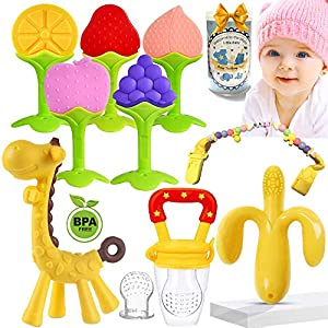 ★【Baby's Safety& Comfortable for Baby】Our Teething Toys are made of 100% food-grade silicone, BPA free, toxin-free, dishwasher and freezer safe. Our Natural Organic Safe Teethers concentrate on the safety and health of your baby's growth. The baby te...