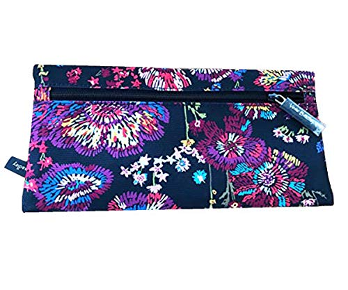 Vera Bradley Pencil Pouch Double Zip Two Compartments (Midnight Wildflowers Black)