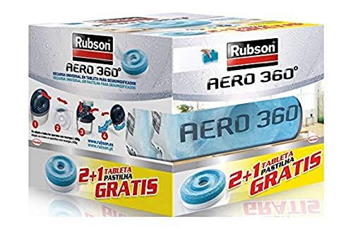 Rubson AERO 360º Set de tabletas de recambio de olor neutro, absorbe humedad y neutraliza malos olores, recambios para deshumidificador recargable, 3 tabletas de 450 g