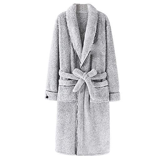MxZas Invierno Masculina camisón de Franela Gruesa Larga cálido Albornoz Pijamas de los Hombres de Coral Albornoz de Lana, XL Jzx-n (Size : Xxlarge)